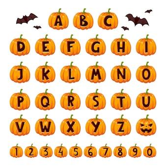 Zestaw alfabetu czcionek halloween.