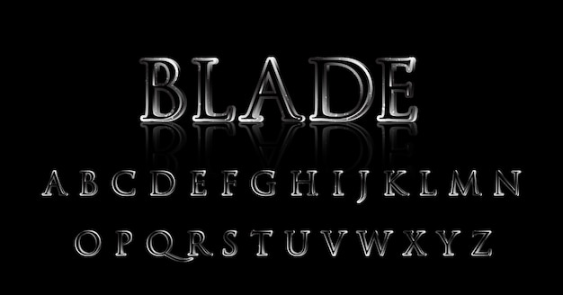 Zestaw alfabetu filmowego silver metal solid strong font