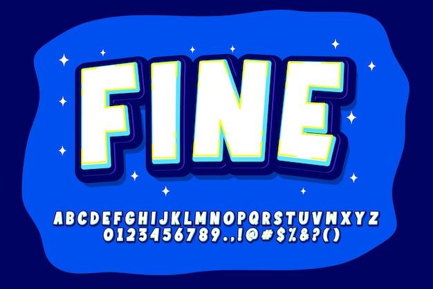 Zestaw alfabetu kreskówek w stylu pop-art