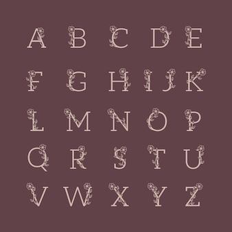 Zestaw alfabetu ozdobny luksusowy ślub logo