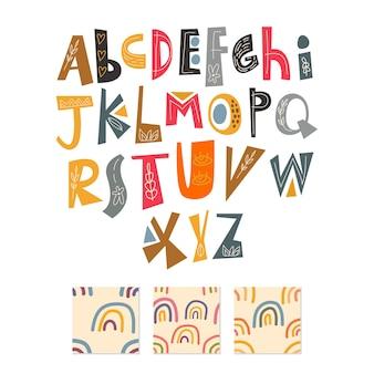 Zestaw alfabetu skandynawskiego i wzór