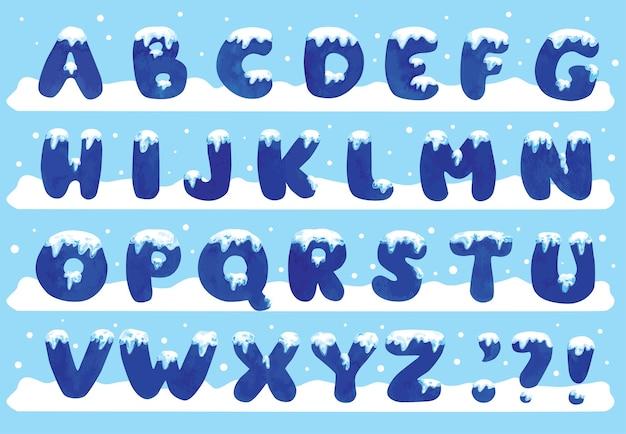 Zestaw alfabetu z akwarelą śniegu