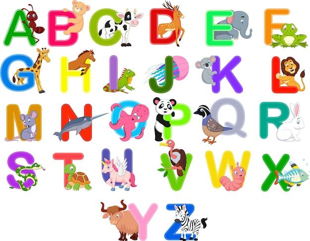 Zestaw alfabetu zwierząt