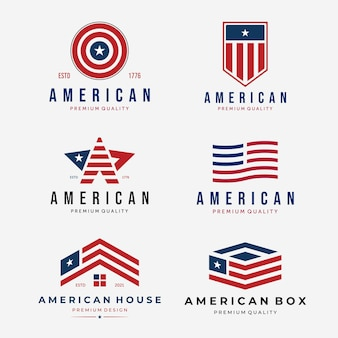 Zestaw american flag logo vintage, pakiet projektu usa lub ilustracja wektorowa stany zjednoczone, koncepcja logistyczna usa, amerykański minimalistyczny dom