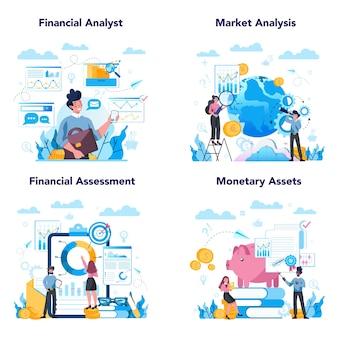 Zestaw analityka finansowego lub konsultanta. charakter biznesowy dokonujący operacji finansowych. analiza rynku, ocena finansowa, aktywa pieniężne.