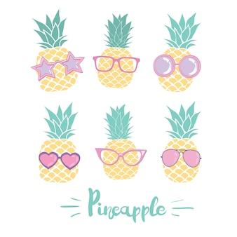 Zestaw ananasa w okularach w różnych stylach. ilustracji wektorowych