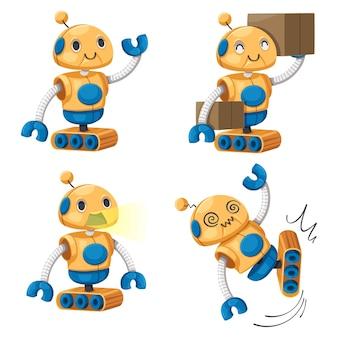 Zestaw android znaków robota w stylu kreskówki futurystyczna maszyna do użytku przemysłowego. na białym tle futurystyczne obiekty cybernetyczne technologia na białym tle ilustracja.