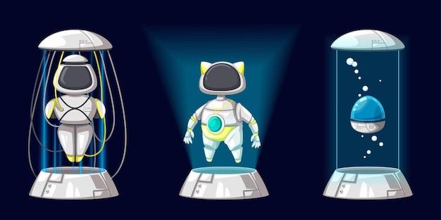 Zestaw android znaków robota zabawka w stylu kreskówki futurystyczna maszyna do użytku domowego. na białym tle futurystyczne obiekty cybernetyczne technologia na białym tle ilustracja.