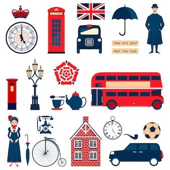 Zestaw angielskich symboli