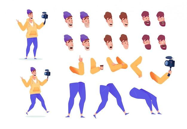 Zestaw animacji blogger wideo w mediach społecznościowych. wpływowy mężczyzna z kamerą wideo różnych nóg, mimiki twarzy i fryzury.