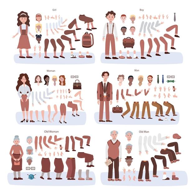 Zestaw animacji postaci dla dzieci, dorosłych i seniorów. kobieta i mężczyzna w trzech etapach wiekowych z różnymi poglądami, fryzurami, emocjami, pozami i gestami. ilustracja wektorowa na białym tle