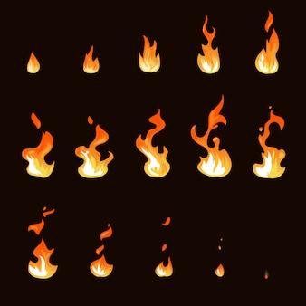 Zestaw animacji sprite kreskówka płomień ognia arkusz