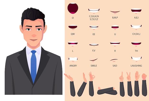 Zestaw animacji ust biznesmena i synchronizacja ust z mężczyzną rasy kaukaskiej w szarym garniturze premium wektorów