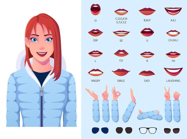 Zestaw animacji ust z kobietą w kurtce zimowej, synchronizacją ust i gestami rąk