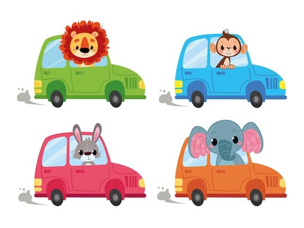Zestaw animowanych samochodów, w których siedzą kierowcy zwierząt. małpa, lew, zając i słoń wyruszają w podróż. wektor transportu izolować w stylu dzieci. z samochodu wychodzą śmieszne zwierzęta.