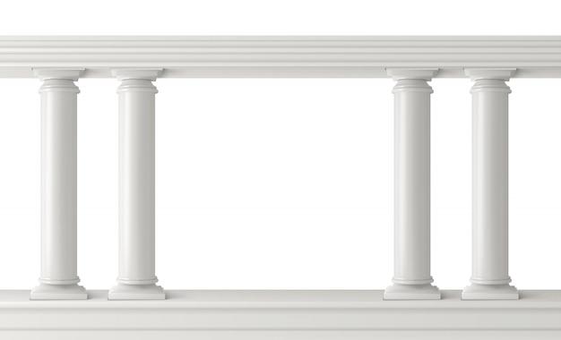 Zestaw antycznych kolumn, balustrady z filarami