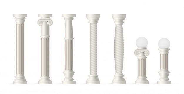 Zestaw antycznych kolumn. realistyczna kolekcja klasycznych białych kolumn. antyczne ikony kamienne filary. starożytna architektura i kultura rzymska i grecka