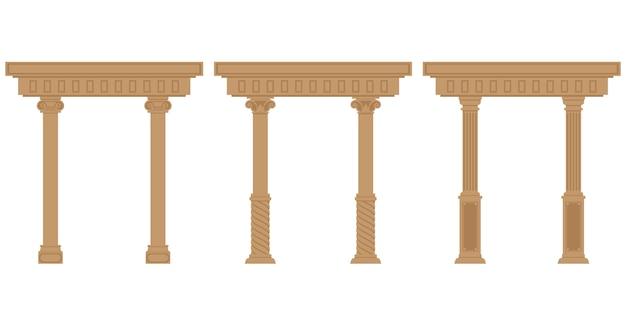 Zestaw antycznych łuków. obiekty architektoniczne w stylu mieszkanie na białym tle.
