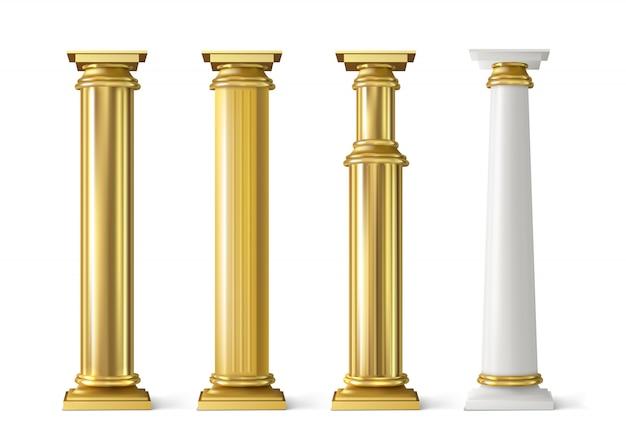 Zestaw antycznych złotych filarów. starożytne złote kolumny