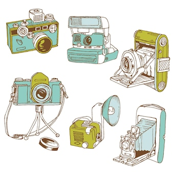 Zestaw aparatów fotograficznych - ręcznie rysowane gryzmoły w wektorze