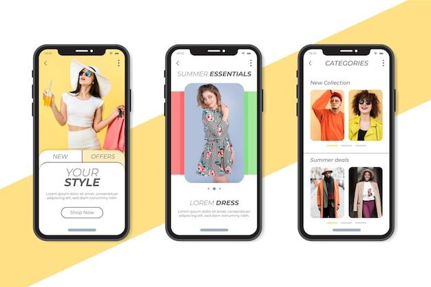 Zestaw aplikacji do zakupów mody