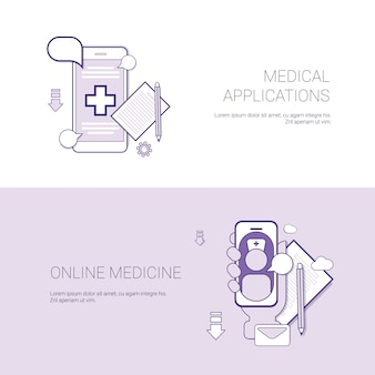 Zestaw aplikacji medycznych i banerów medycyny online