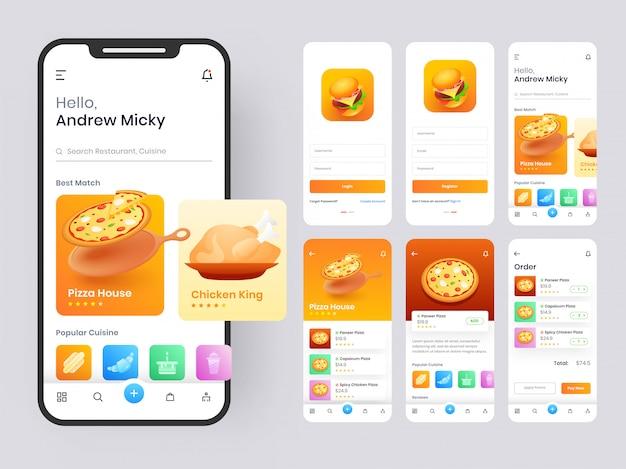 Zestaw aplikacji mobilnych food, w tym rejestracja, menu żywności, rezerwacja i ekrany przeglądu typu usługi domowej.