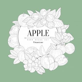Zestaw apple vintage szkic