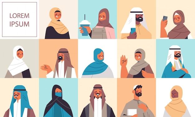Zestaw arabskich kobiet mężczyzn w tradycyjnych strojach uśmiechniętych arabskich awatarów kolekcja męskich żeńskich postaci z kreskówek portret pozioma kopia przestrzeń ilustracja