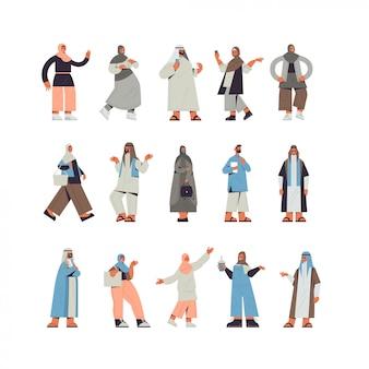 Zestaw arabskich ludzi w tradycyjnych strojach arabskich mężczyzn kobiet stojących poza męskich żeńskich postaci z kreskówek kolekcja pełnej długości ilustracji