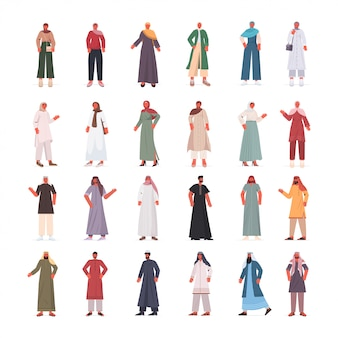 Zestaw arabskich mężczyzn kobiety w tradycyjnych strojach arabskich męskich żeńskich postaci z kreskówek kolekcja pełnej długości izolowana ilustracja