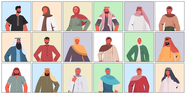 Zestaw arabskich mężczyzn kobiety w tradycyjnych strojach arabskich męskich żeńskich postaci z kreskówek kolekcja portret ilustracji