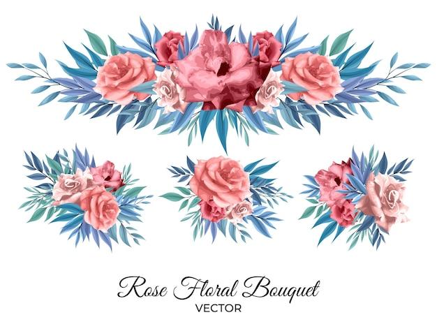 Zestaw aranżacji grafiki liniowej kwiaty róży