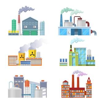 Zestaw architektoniczny budynków fabryki przemysłowej.
