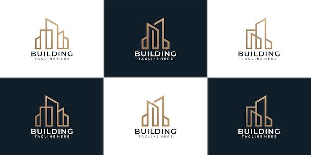 Zestaw architektury budynku koncepcja logo nieruchomości mieszkania dla biznesu