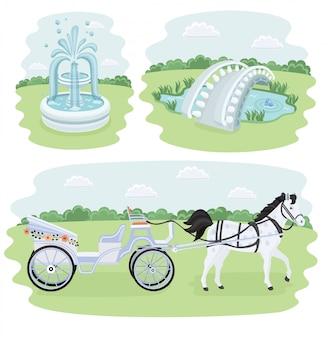 Zestaw architektury izometrycznej skrzyżowania, dekoracji parku, barykady i innych obiektów. obejmuje również kwiaty, fontannę, elementy mostu.