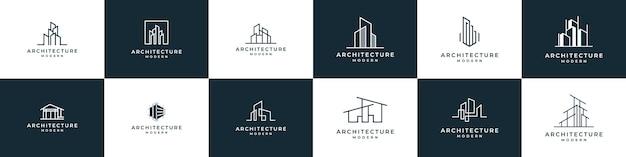 Zestaw architektury logo z koncepcją liniową projekt logo szablon nieruchomości
