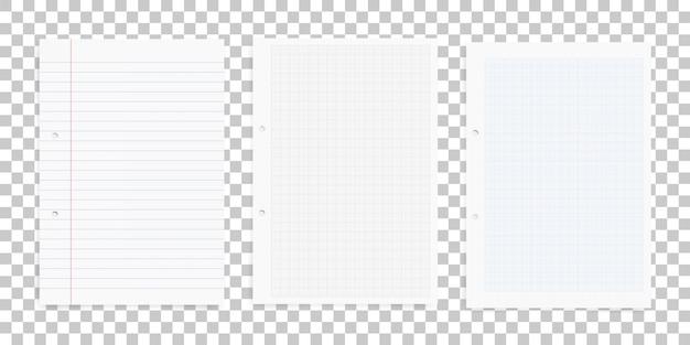 Zestaw arkuszy białego papieru na przezroczystym tle.