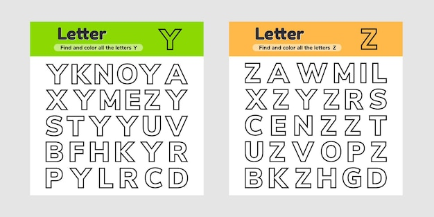 Zestaw arkuszy edukacyjnych dla dzieci w wieku przedszkolnym i szkolnym litery znajdź i pokoloruj