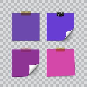 Zestaw arkuszy koloru ultrafioletu notatki papieru na przezroczystym tle