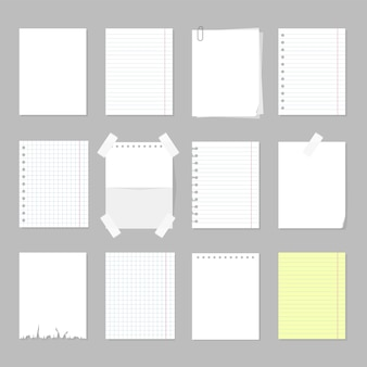 Zestaw arkuszy papieru. biała pusta strona papieru, pusta tablica do wiadomości