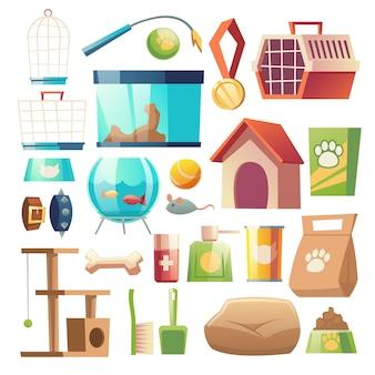 Zestaw artykułów spożywczych i akcesoriów do sklepu zoologicznego