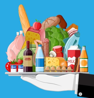 Zestaw artykułów spożywczych. kolekcja sklepu spożywczego. supermarket. świeża ekologiczna żywność i napoje. mleko, warzywa, mięso, sery drobiowe, wędliny, wino, sok z płatków rybnych.