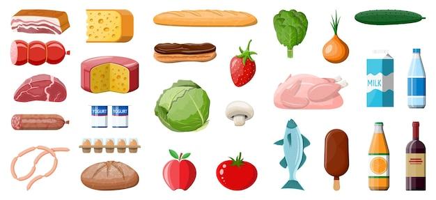 Zestaw artykułów spożywczych. kolekcja sklepu spożywczego. supermarket. świeża żywność ekologiczna i napoje. mleko, warzywa, mięso, ser drobiowy, wędliny, wino owocowe, sok z płatków rybnych. wektor ilustracja płaski styl