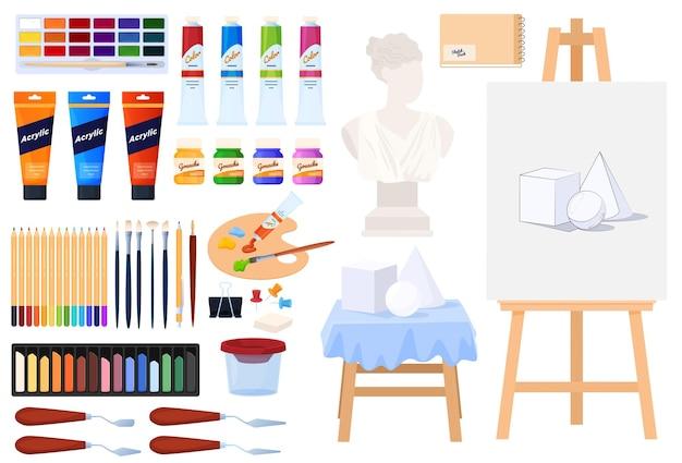 Zestaw artystyczny kolekcja kolorowych farb, ołówków, pędzli, sztalugi biust