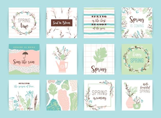 Zestaw artystycznych kreatywnych kart wiosennych.