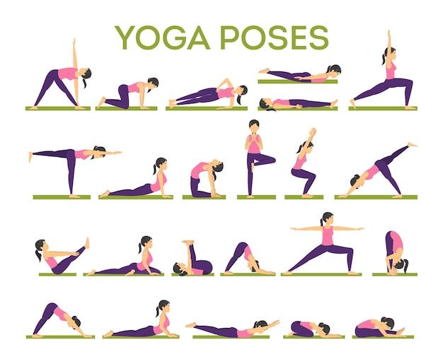 Zestaw asan jogi dla mężczyzn i kobiet