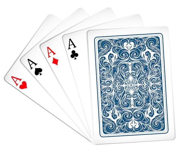 Zestaw asów z wzorem z tyłu karty