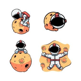 Zestaw astronautów i ilustracji księżyca