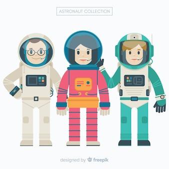 Zestaw astronautów w płaskiej konstrukcji